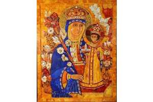 Икона Божьей Матери «Неувядаемый цвет». Янтарь, дерево, лазурит, металл. 127×99 см